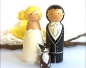 Custom Wood WEDDING CAKE TOPPER with Pet Cake Topper Bride Groom Cat Dog Large Peg Dolls Custom Wedding Cake Toppers