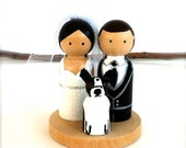 WEDDING CAKE TOPPER with Pet and Mini Circle Wood Stand Custom Bride and Groom Cake Topper Wood Peg Doll Wooden Cake Topper Cat Dog