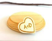 Add On Custom Wedding Cake Topper Stand with Personalized Initial Love Heart To Go With Wood Peg Doll Toppers Keepsake Groom Cute