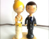 Bride and Groom WEDDING CAKE TOPPER Custom Clothespin Dolls Cake Topper Kokeshi Doll Personalized Wedding Cake Toppers Whimsical 3D Accents