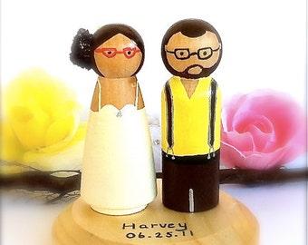 HIPSTER WEDDING Cake Topper Geek Chic Bride and Groom Wood Peg Dolls Peggies Peg People Keepsake Bridal Shower Cute