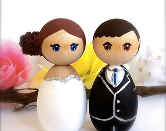 Kokeshi Dolls Wedding Cake Toppers Custom Bride Groom Wood Peg Japanese Style Anime Personalized Keepsake Collectable Painted Cute Figurines