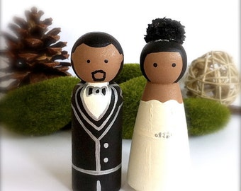 African American Custom Wedding Cake Toppers Hispanic Wood Peg Dolls Bride Groom Peg People  Keepsake Personalized  CreativeButterflyXOX