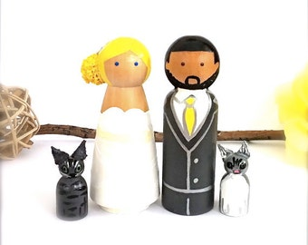 Wedding Toppers Custom Bride and Groom with 2 Pets Large Personalized Wood Peg Dolls Peggies Dog Cat Animals Cute CreativeButterflyXOX