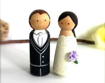 CAKE TOPPERS Custom Wedding Cake Topper Peg Doll Cake Topper Wedding Couple Bride and Groom Wedding Cake Toppers Wooden Wedding Cake Topper