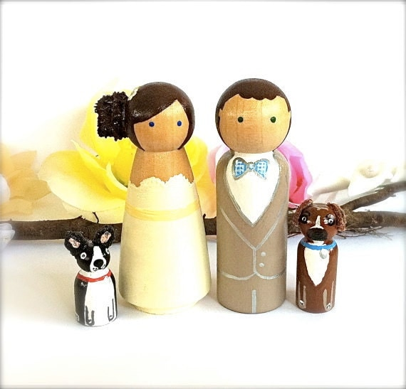 Wedding Cake Topper Custom Bride and Groom with 2 Pets Large Personalized Wood Peg Dolls Peggies Dog Cat Animals Cute CreativeButterflyXOX