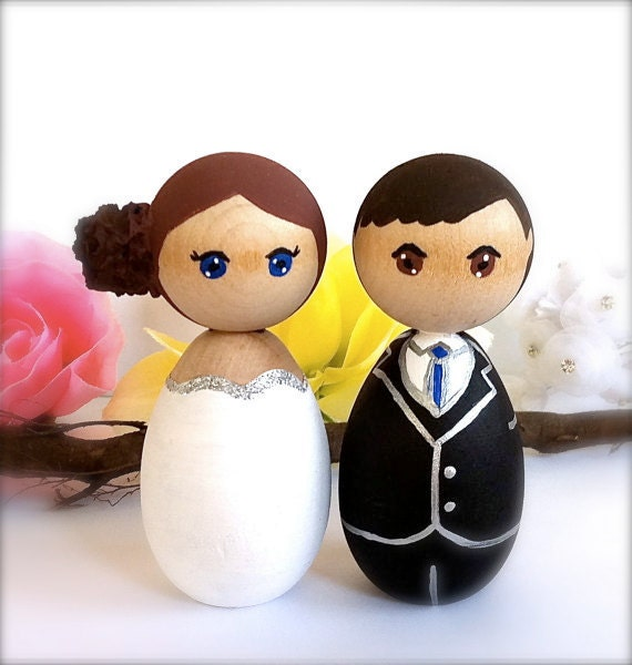 wedding cake toppers wooden dolls kokeshi dolls wedding cake toppers custom groom wood peg 26642