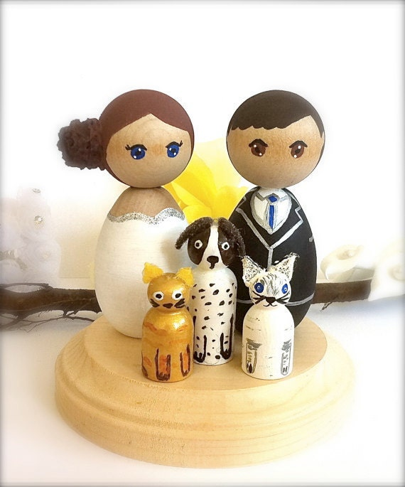 cat wedding cake toppers uk kokeshi wedding cake toppers with 3 pets cat groom 12462