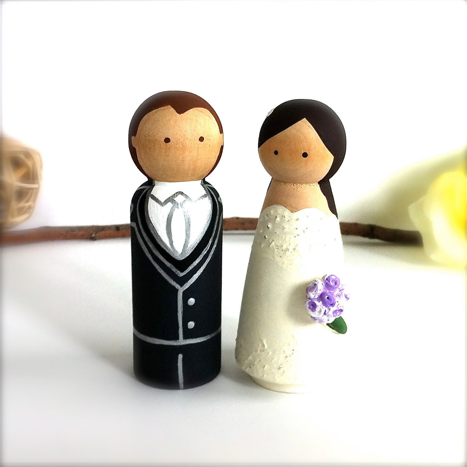 Wedding Cake Toppers Wooden Dolls