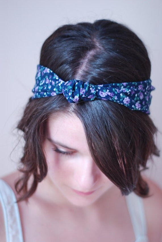 Purple Floral Cotton Turban Head--wrap