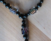 Necklace -- Black Onyx with Cane Glass