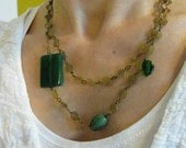 Green shades of jasper and glass necklace