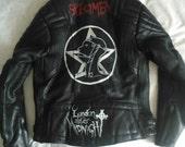 Hand Painted Goth Biker Jacket - Sisters of Mercy - London After Midnight - Alien Sex Fiend - Rosetta Stone - Specimen - Christian Death