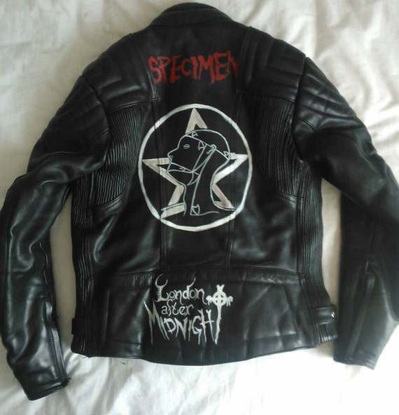 Hand Painted Goth Biker Jacket - Sisters of Mercy - London After Midnight - Alien Sex Fiend - Rosetta Stone - Specimen - Christian Death