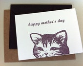 Mother's Day Card // Purple Letterpress Happy Cat