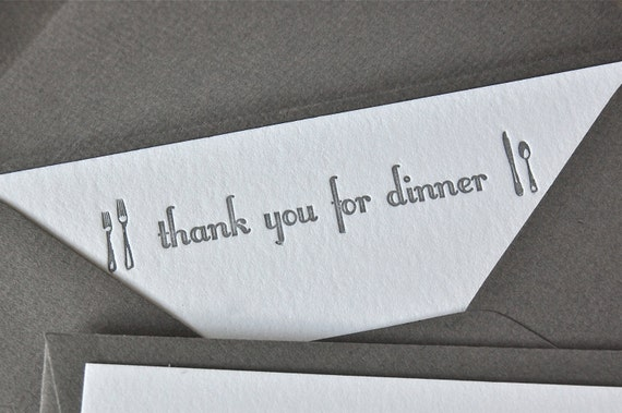 Thank you for dinner note card // Silver Grey letterpress // set of 5