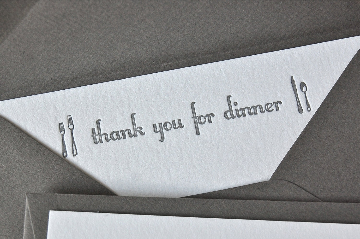 Thank You For Dinner Note Card Silver Grey Letterpress