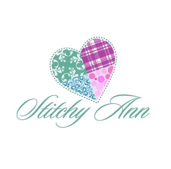 Etsy shop banner Premade Set, Heart quilt Logo Design  - Includes Banners, Avatar, and more...