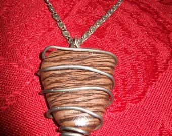 Catalina Island Striated Rock Pendant w\/Vintage Necklace