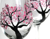 Wine Glasses- Hand Painted, Cherry Blossoms