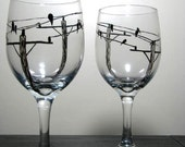 Urban Painted Wine Glasses- Birds on Wire, Set of 2
