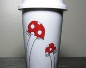 Painted Travel Mug- Whimsical Mushrooms