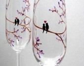 Champagne Flutes Personalized Black Love Birds Stemware