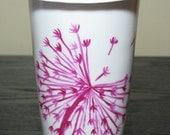 Painted Travel Mug- Pink Dandelions