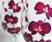 Wine Glasses Fushia Orchids Painted Barware