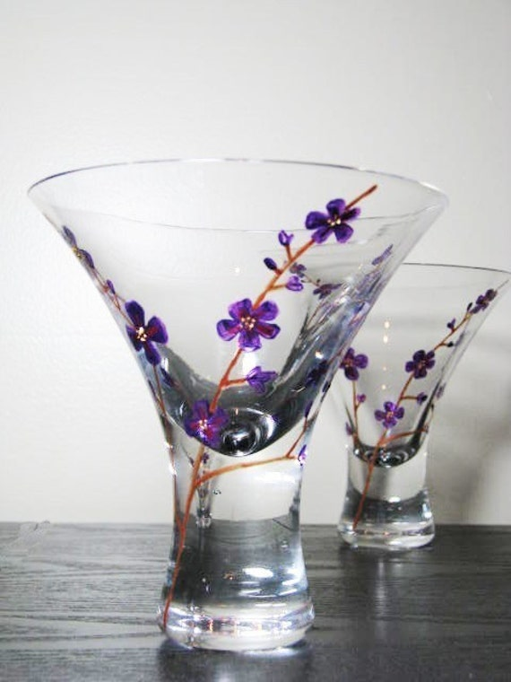 Hand painted stemless wine glasses purple orchids for Painted stemless wine glasses