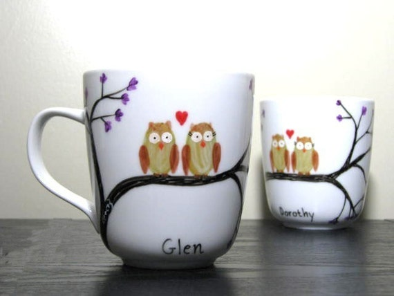 Hand Painted Mugs With Owls S Owl Mates Set Of 2