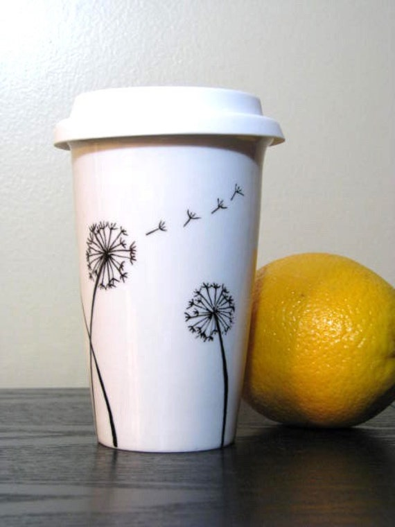 Painted Travel Mug Dandelions Eco Friendly