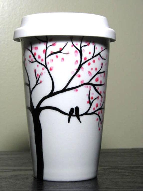 Ceramic travel mug painted coffee cup love birds in cherry for How to paint a mug