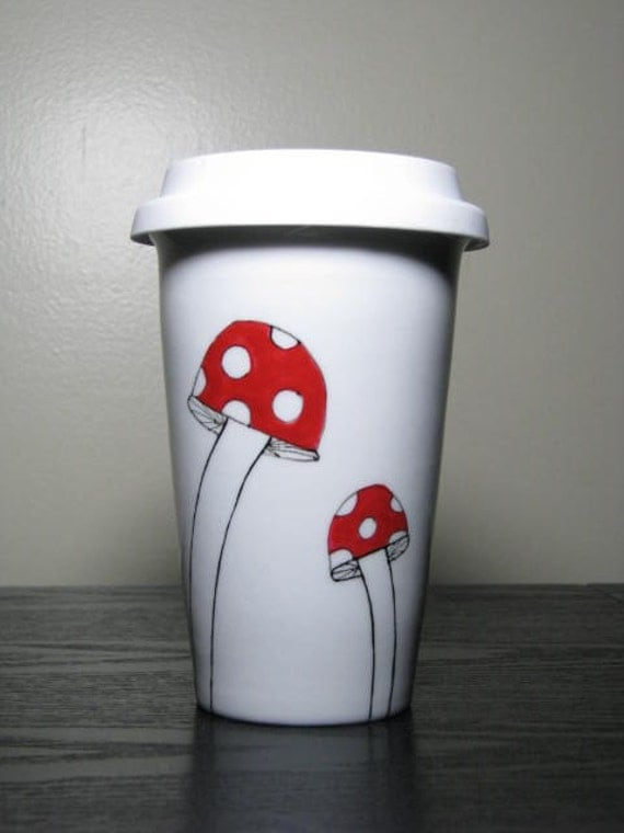 Painted Travel Mug- Whimsical Mushrooms
