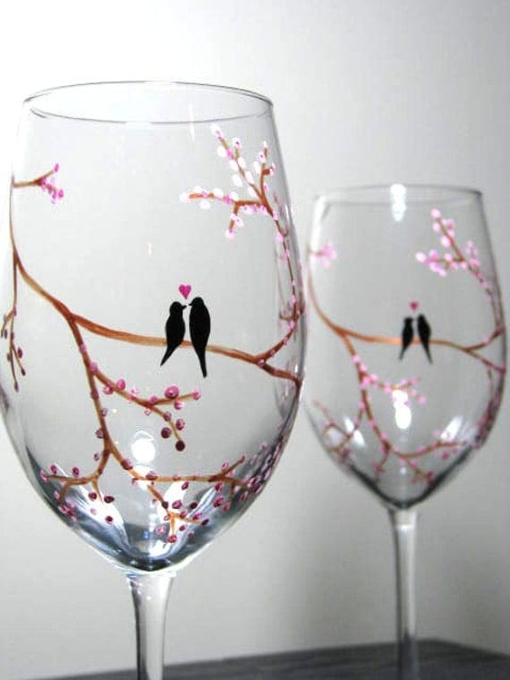Items Similar To Hand Painted Wine Glasses Birds On Tree