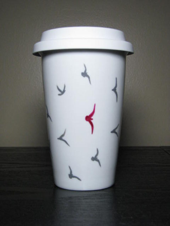Painted Travel Mug- Birds of a Flock, Eco-Friendly
