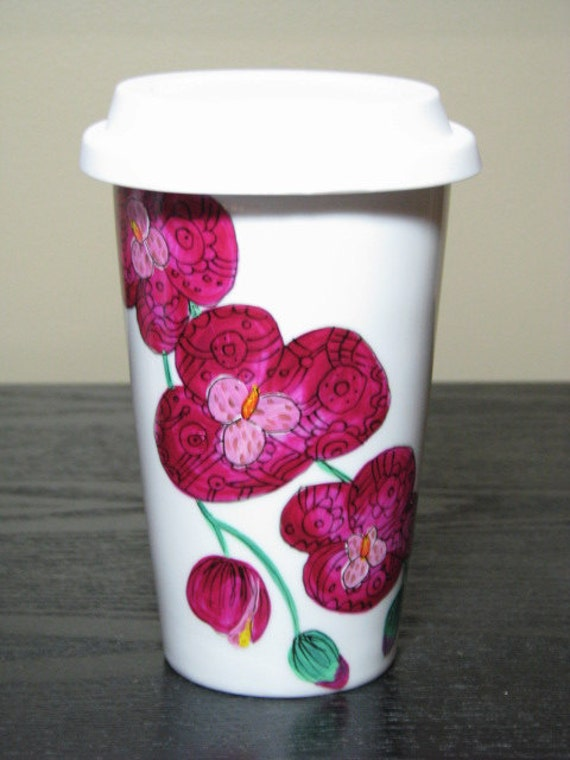 Painted Travel Coffee Mug- Fushia Design Orchids, Eco-Friendly