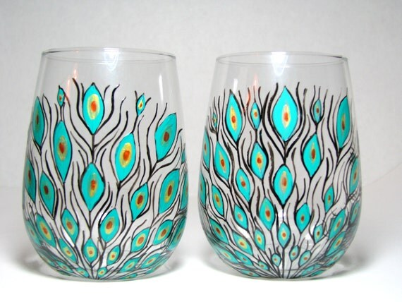 Items similar to painted stemless wine glasses peacock for Painted stemless wine glasses