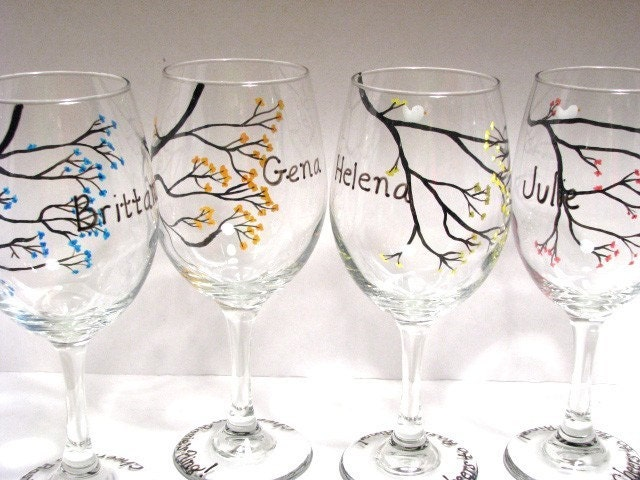 Hand Painted Wine Glasses For Bridal Party