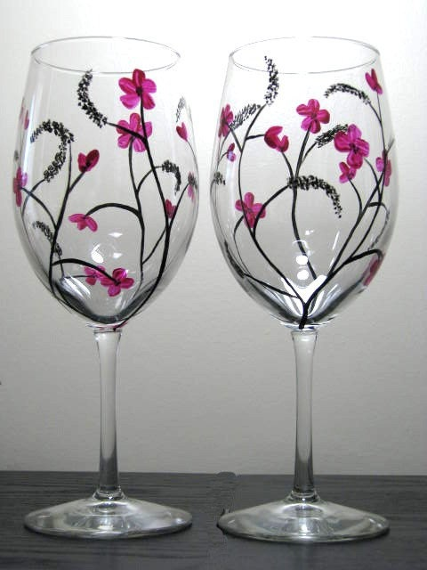 Two Hand Painted Wine Glasses With Japanese Inspired Design