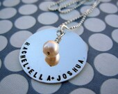 Custom sterling silver large tag necklace with one stone charm