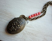 Locket -- Antique Bronze with Customizable Tag -- The Lucy