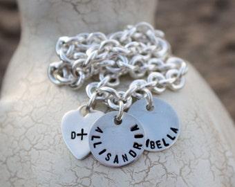 Charm Bracelet, custom, sterling silver