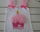 Fluffy  Light Pink and Hot Pink Cupcake Birthday Shirt with Ruffled Chiffon and Ruffle Straps with Matching Hair Clip
