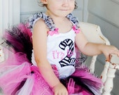 Zebra and Hot Pink  Birthday Outfit with  Matching Tutu