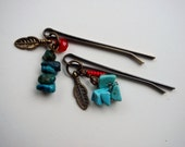Southwestern Hair Pins, Turquoise, Feather Charm