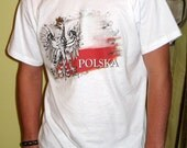 Polish Eagle and flag t shirt - graphic t shirt for men