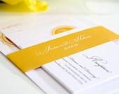 Medallion Monogram Wedding Invitations in Yellow - Sample