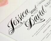 Ravishing Script Wedding Invitations Sample in Black, White and Pink on Pearl Shimmer Luxury Cardstock