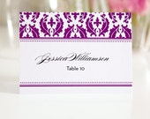 Purple Damask Tented Place Cards or Escort Cards for Your Wedding, Damask Design Deposit